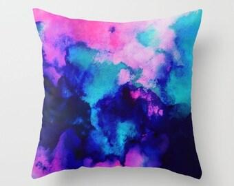 Watercolor Art Pillow, Throw Pillows, Decorative Pillow, Navy Blue, Pink and Aqua, Watercolor Art, Home Decor, Accent Pillow