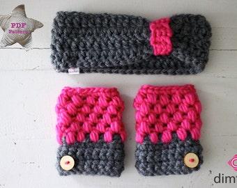 Crochet pattern gloves and headband