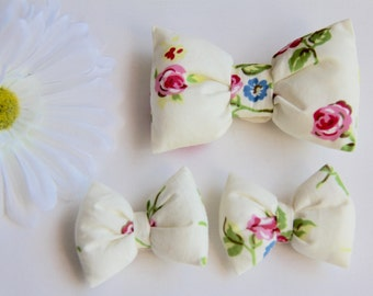 Floral Hair Bow, Ivory Hair Bow, Girls Hair Clips, Baby Bows, Adult Hair Bow, Bow Hair Clip, Floral Hair Clip, Cream Hair Bows, Toddler Clip