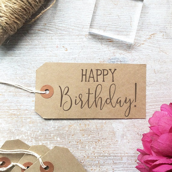Happy birthday stamp modern calligraphy by clarisestamps
