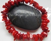 Red Coral Chip Bead Beaded Gemstone Crystal Healing Stretch Bracelet Handmade To Order