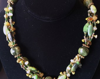 Necklace Varicite, Shades of Green... Artist: Teresa Bradford-Cole