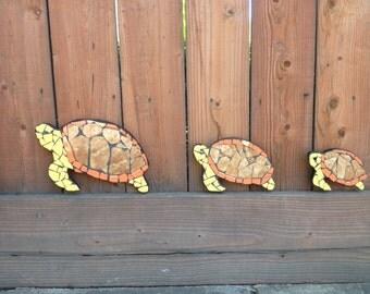 Turtle, tile mosaic art, fence decoration, fence ornaments, yard art, garden decor