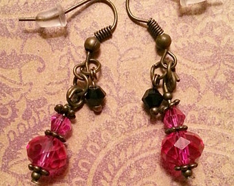 Hot Pink Crystal & Bronze Earrings