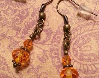 Orange Crystal & Bronze Earrings