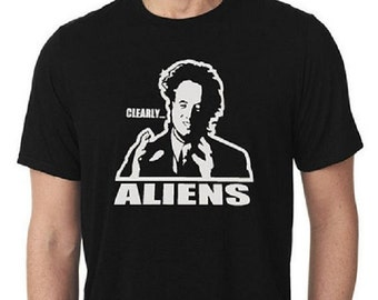 Ancient Aliens Clearly Aliens Giorgio Tsoukalos Men's Crew Neck T-Shirt / TV Show T-Shirts / Ancient Aliens T-Shirts