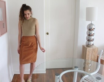 High-Waisted Suede Skirt, Burnt Sienna - Vintage
