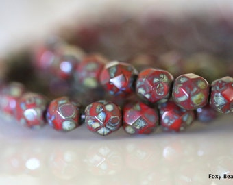 6mm Faceted Round Czech Glass Beads, Red Picasso Finish Fire Polished Faceted Beads CZFB016