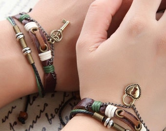 Couples Bracelet, His and Hers Couples Gift, Heart Lock and Key Leather Braclet, Anniversary Gift CP-367
