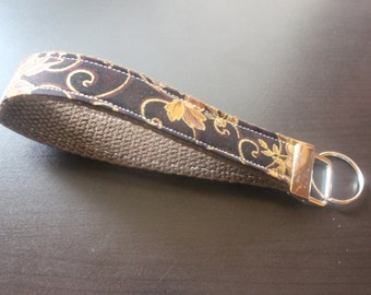 Brown and gold floral keychain/keyfob/wristlet