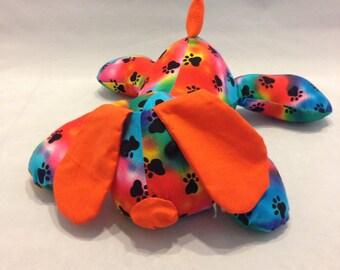 Tye dye paw print stuffed puppy/toy/stuffed dog