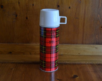 Vintage Plaid Metal Thermos