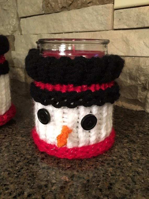 Snowman Candle Jar Cozy - a loom knit pattern