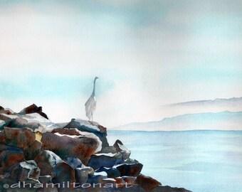 Elegant Egret Watercolor Egret Watercolor Painting Watercolor California Salton Sea Egret,