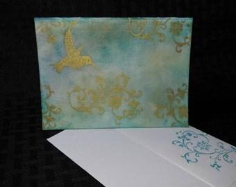 Gold Embossed Hummingbird Card