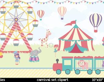 Carnival Clipart | Cute Carnival Clipart | Circus Clipart | Elephant Circus Clipart | Monkey Clipart | Elephant Clipart | Giraffe Clipart