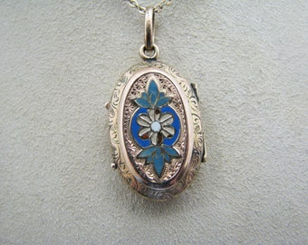 Gorgeous Vintage Enamel Memorial Gold Filled Locket