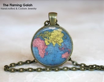 WORLD MAP Pendant • Blue World Globe • Planet Earth • Vintage World Map • Cartolography • Gift Under 20 • Made in Australia (P0500)