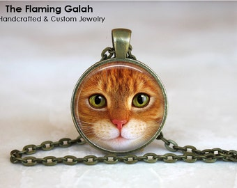 GINGER CAT Pendant • Tabby Cat • Cat's Eyes • Ginger Kitten • Cat Lover • Cat Lady • Gift Under 20 • Made in Australia (P0107)
