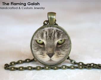 GREY CAT FACE Pendant • Green Cat's Eyes • Grey Kitten Face • Gift for a Cat Lover • Gift Under 20 • Made in Australia (P0211)