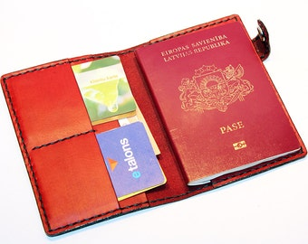 Leather Passport Cover!  Red Leather Passport Holder! Leather Travel Passport Cover!  Red Handmade Passport Cover! SALE
