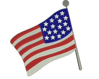 USA American Flag Filled Machine Embroidery Design Digitized Pattern Pattern