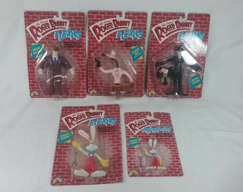 Vintage lot of 5 NOS new in package who framed Roger rabbit flexies toy figures 1988