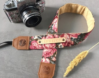 DSLR camera strap,Solf Pink Rose Camera Strap, leather camera Strap, Gift for her