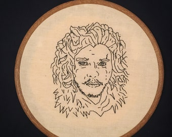Hand Embroidery. Hoop Art. Game of Thrones. Jon Snow. Ready to Ship. Wall Hanging. Nerd Gift.