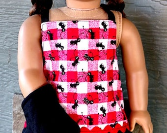 "Apron Set for American Girl Doll/AG Doll/18"" Doll - Picnic Ant Print Apron, Hot Mitt and Chef Hat"