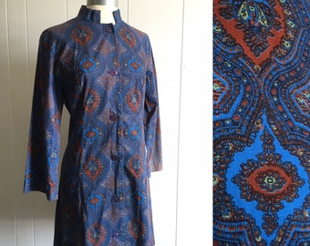 60s mod mini dress ~ vintage paisley print bell sleeve dress