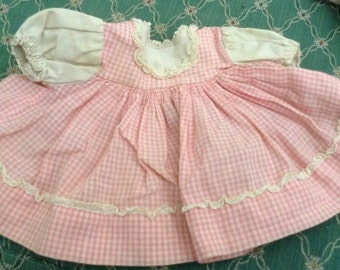 Vintage Pink Checked Doll Dress