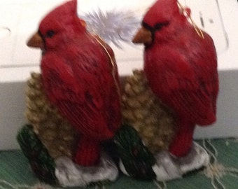 2 Cardinal Christmas Ornaments