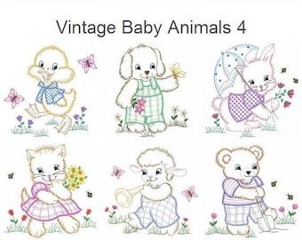 Vintage Baby Animals 4 Machine Embroidery Designs Instant Download 4x4 5x5 6x6 hoop 10 designs APE2291