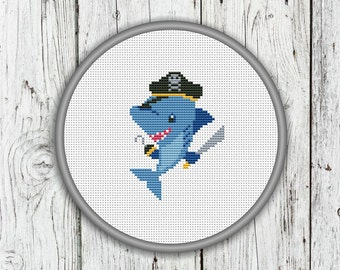 Cute Pirate Shark Counted Cross Stitch Pattern, Shark Needlepoint Pattern - PDF, Instant Download