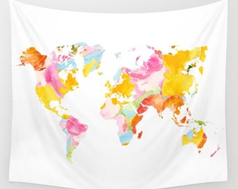 World Map Wall Tapestry / Cream Tapestry with Watercolor Map / Map Wall Tapestry / Aldari Home