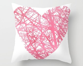 Heart Pillow Cover - Pink Heart Pillow Cover - Valenitnes Day Decorative Pillow Cover - Home Decor - By Aldari Home