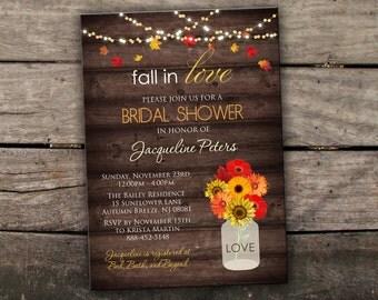 10% OFF Printed or Digital Fall Bridal Shower Invitation Fall Couples Shower Invitation Mason Jar Invitation Autumn Bridal Shower Printable