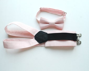 Blush Linen Boy's Suspenders and Bow Tie - Ring bearer - Festive Boy's Outfit - Wedding Boy - Toddler Linen Suspenders and Bowtie