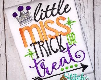Little Miss Trick or Treat Shirt, Bodysuit or Black Canvas Trick or Treat Bag, Halloween Shirt, Halloween Applique