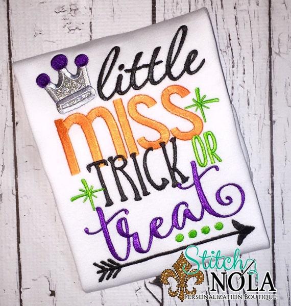Little Miss Trick or Treat Shirt SHIPS FAST!! , Bodysuit or Black Canvas Trick or Treat Bag, Halloween Shirt, Halloween Applique