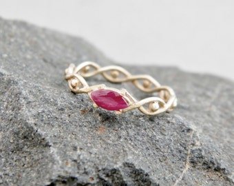 Gold ring with ruby, white gold ring , ruby ring