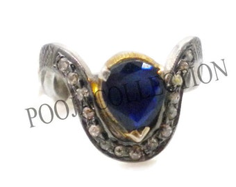 10 % OFF! SALE! RING,92.5 silver victorian style rosecut diamond & blue sapphire turkish jewellery ring