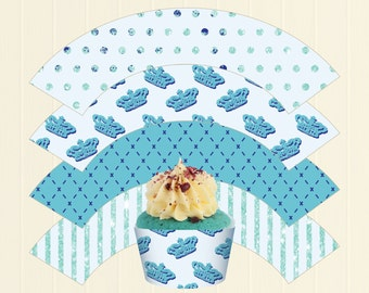 Prince Charming Toddler Boy Birthday / Baby Shower Party Theme - DIY Cupcake Wrappers Printable - Instant Download