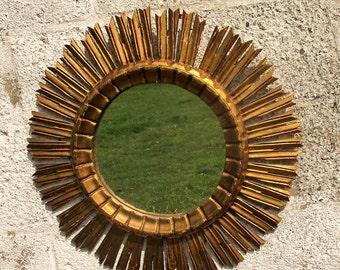 Stunning French Sunburst Wall Hanging Mirror Mid Century Modernist Wood
