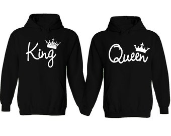 King and Queen Soul Mate Couple sweaters Cartoon- Funny Couple Hoodies Couple Sweatshirts Matching Couple Hoodie Sweater