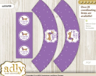 Girl Suasage Cupcake Wrappers and Thank You Printable for Baby Suasage Shower DIY – Dog -oz05bsP8