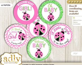 Cute Ladybug Cupcake Toppers for Baby Shower Printable DIY, favor tags, circles, It's a Cute, Polka - oz14bPG0