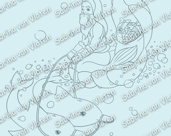 Christmas Under the Sea - Digi Stamp JPEG PNG