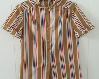 1970's Stripped Short Sleeve Blouse